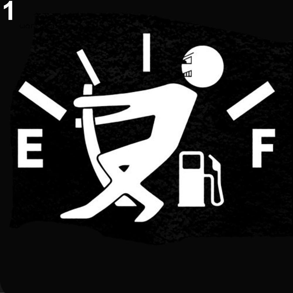 ★WM Stiker Mobil Reflektif Gambar Lucu Orang Menarik Meteran BBM Kosong