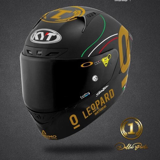 ・☊ Sticker Helm KYT Full Set Gold Leopard (Terlaris)