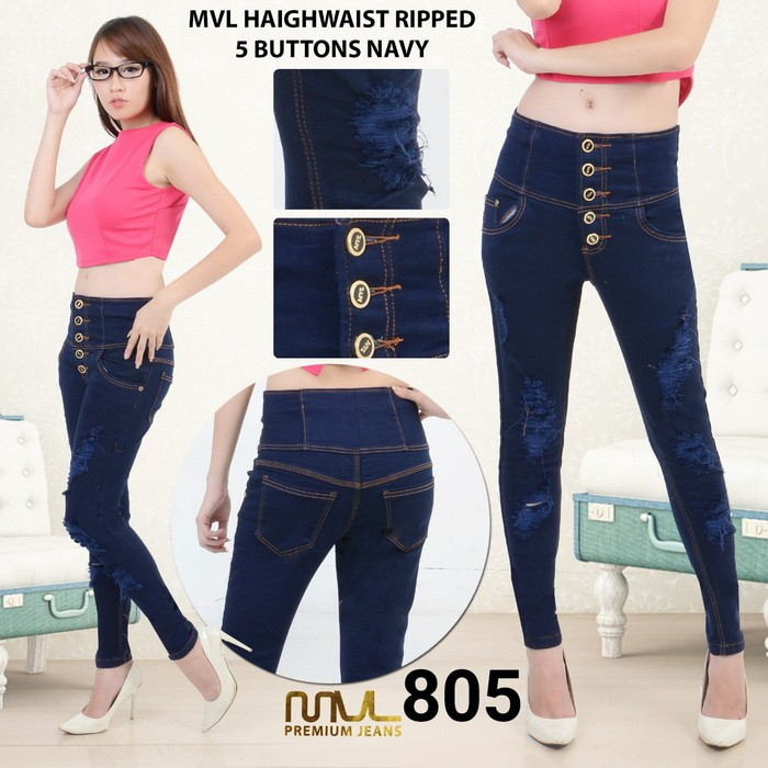 #Celana Jeans Celana Jeans Sobek Navy HW 805 | Shopee Indonesia