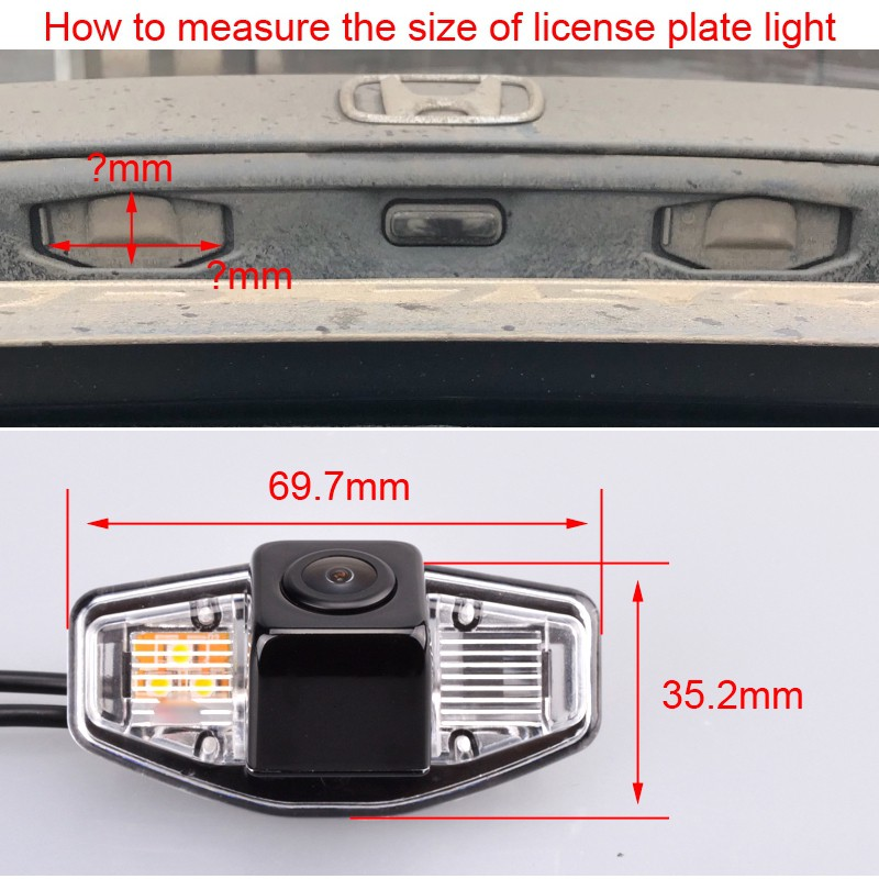 Waterproof Rear-view License Plate Car Rear Backup Parking Camera for Honda Accord civic Odyssey pilot acura TSX Night version Navinio Backup Camera for Car