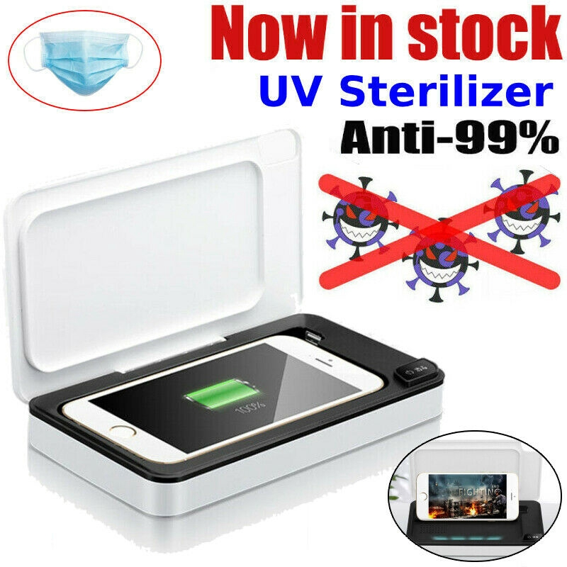 White Smart Phone Sanitizer Portable UV Lights Cell Phone Sanitizer Sterilizer Cleaner Aromatherapy Function Disinfector for All iPhone Android Cellphone Toothbrush