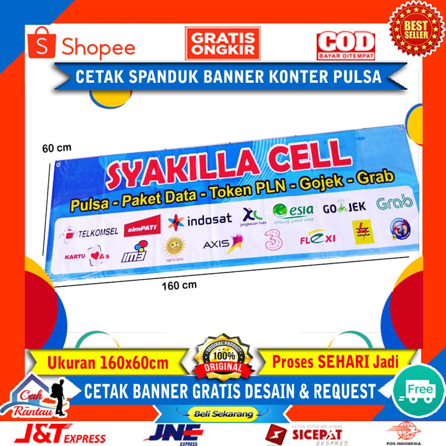Cetak Spanduk Banner Baliho Konter Pulsa Hp Promosi Usaha Bisnis Warung Kedai Terlaris Custom Shopee Indonesia