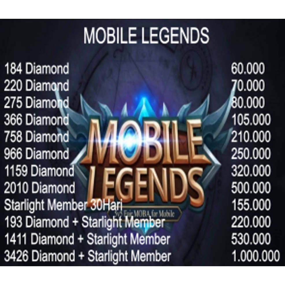 TOP UP DIAMOND MOBILE LEGEND & STARLIGHT ME