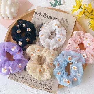 Ikat Rambut Bunga Daisy Gaya INS Korea Segar Kecil Tali Rambut Elastis Untuk Wanita 1