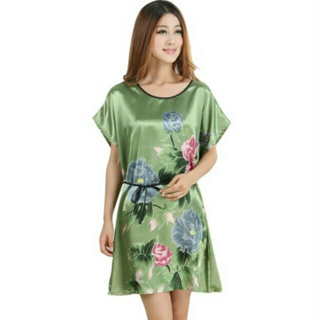 Perfect Baju Tidur Baju Santai Wanita Polyester Dress Lace Bunga ... dc53bc513c