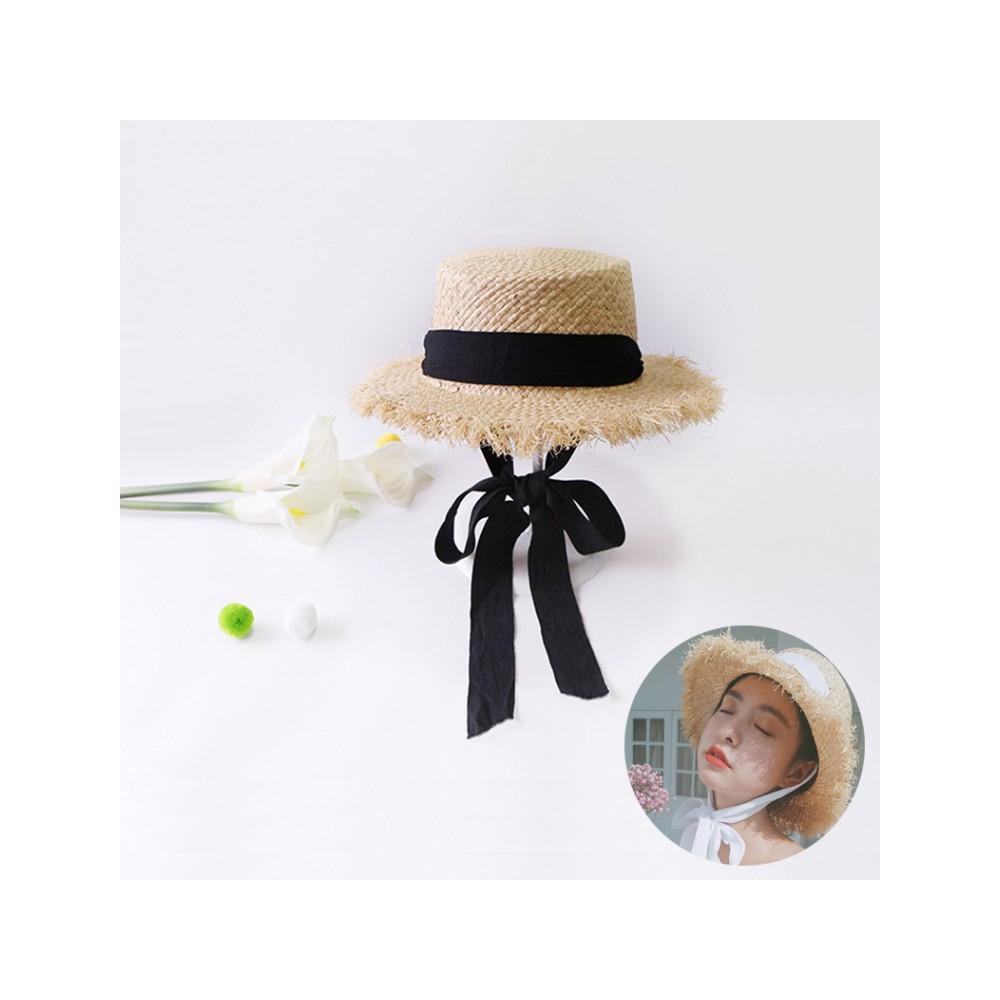 Topi Pantai Wanita Pria Murah Straw Jerami Bow Knot Beach Hat - 3450 ... e57cc77cf3