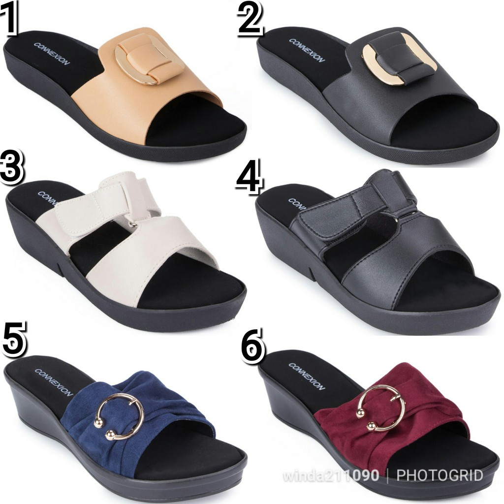 Wedges connexion, wedges matahari, sendal wedges, sendal matahari, sendal connexion, sendal wanita | Shopee Indonesia