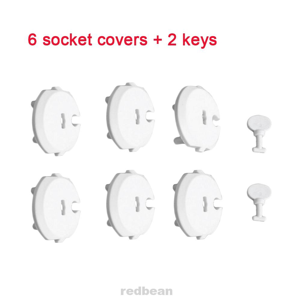 6PCS Socket Cover+2PCS Key Anti-electric Shock Protection Cover Protect Toddlers Childproof
