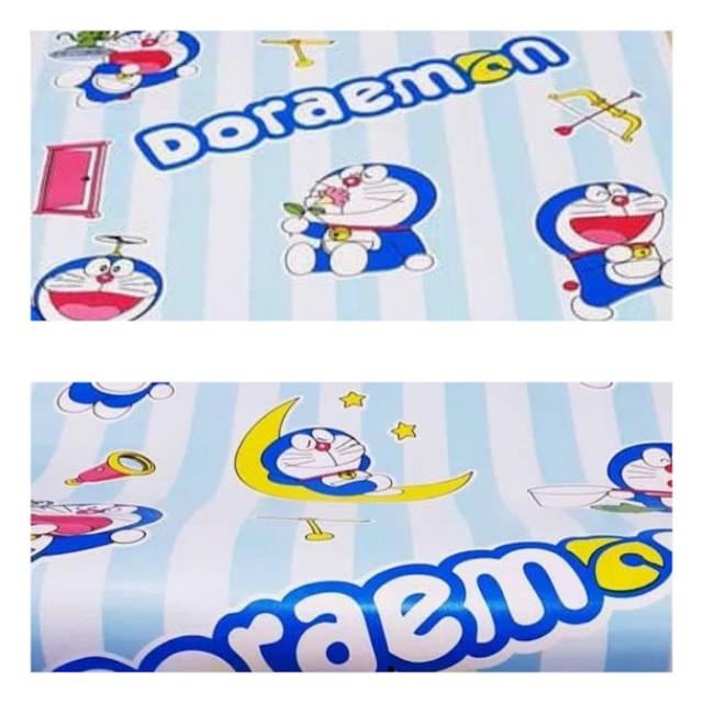 Wallpaper Sticker Dinding Murah Kamar Anak Kartun Doraemon Garis Biru Putih Lucu Shopee Indonesia