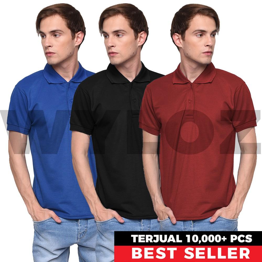 Kaos Polo Shirt Berkantong Bersaku Bahan Lacoste Pique Pe Kerah Tebal Shopee Indonesia