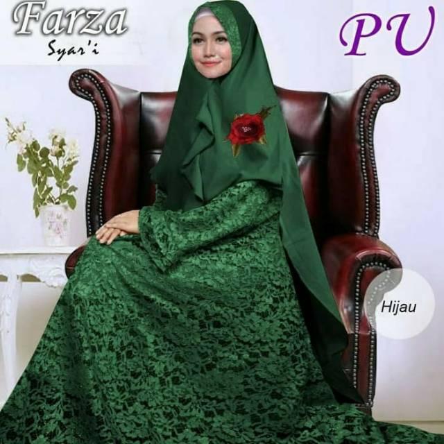 Busana Muslim Farza Hijau Gamis Brukat Corneli Jumbo Size Big Plus Set Jilbab Pesta