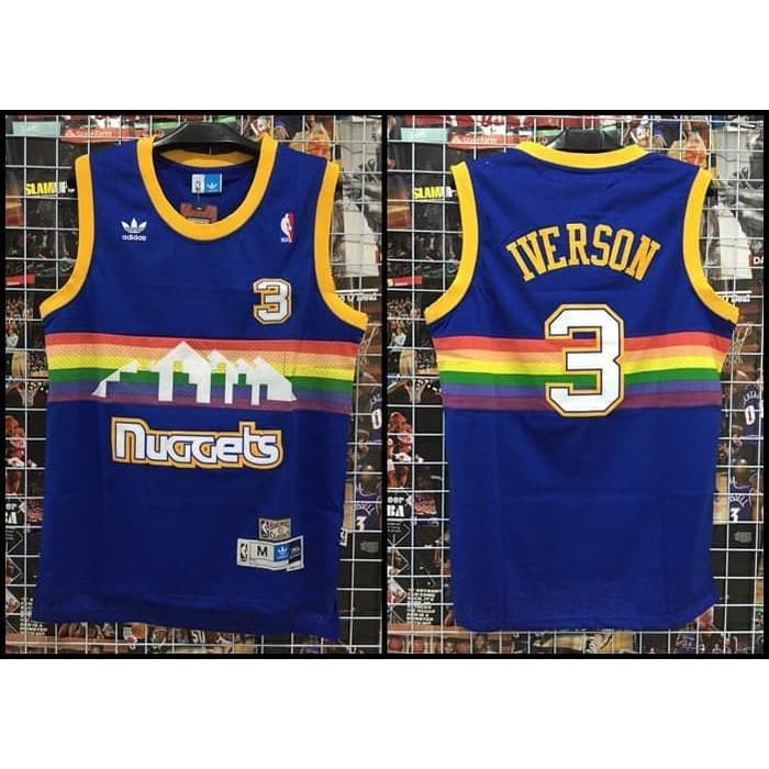 online retailer 010ca 63214 VFG1142 Jersey NBA Classic HWC Nuggets #3 Iverson Rainbow Pelangi