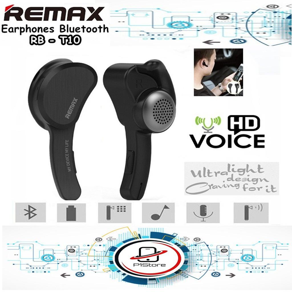 Remax Handsfree Bluetooth RB-T10 Mini Earphone Headset T10 Smart Wireless Microphone Original Black