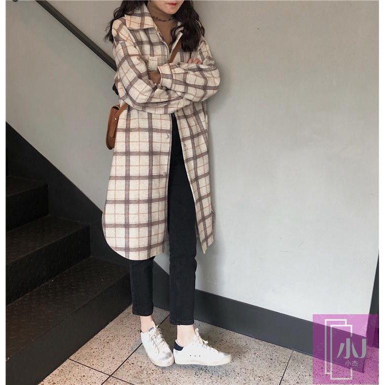 in perguruan kerah bulu tebal kotak-kotak hangat mantel wol mantel wanita pasang | Shopee Indonesia