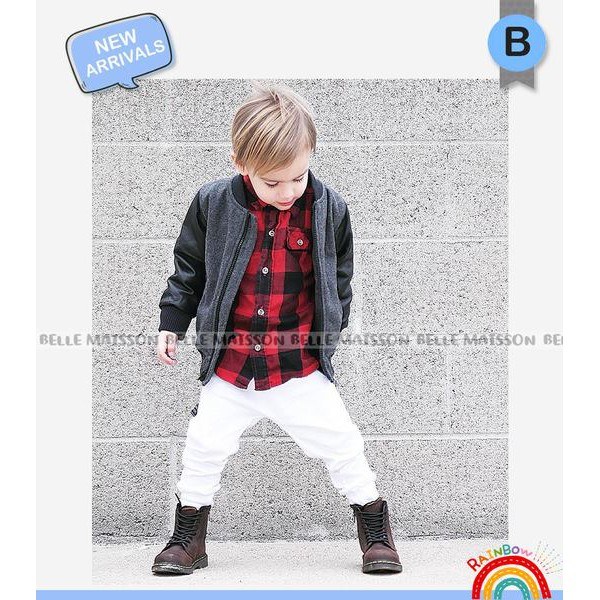 FASHION ANAK: BELLE MAISON BOY 3IN1 KEMEJA SET JACKET AND JEANS! SETELAN ANAK LAKI