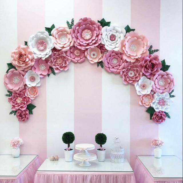 Paper Flower Backdrop Photobooth Hiasan Dinding Bunga Kertas Shopee Indonesia