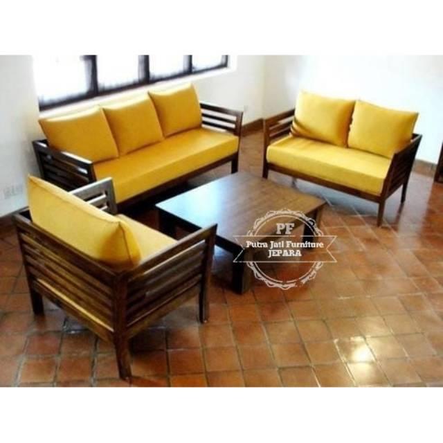 Sofa Kursi Ruang Tamu Meja Kursi Kayu Jati Model Minimalis Gratis Ongkir Shopee Indonesia