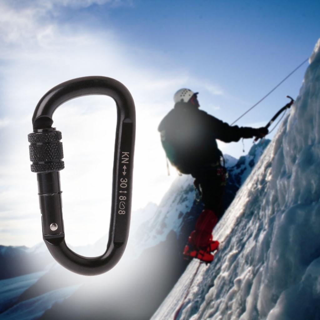 30KN Double Locking Carabiner Karabiner Clip Mountaineering Climbing Buckle