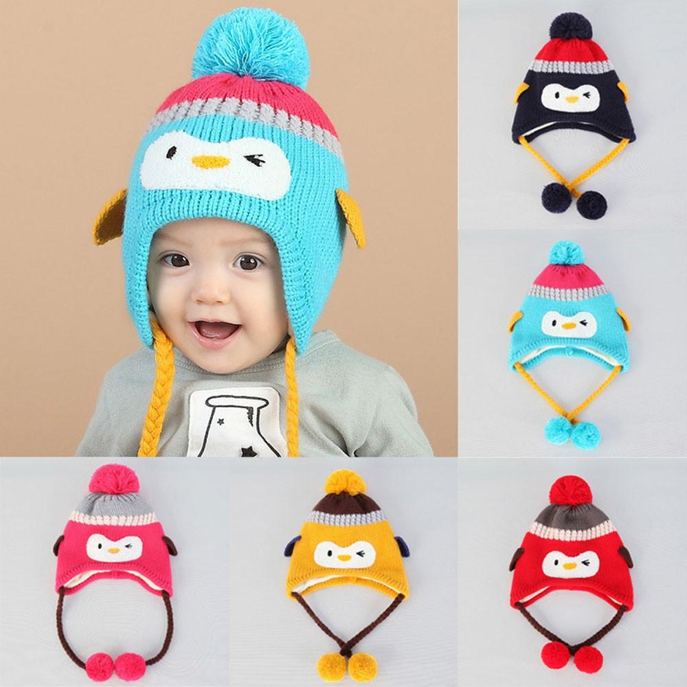 Topi Kupluk Musim Dingin Bayi  Balita Lelaki dan Perempuan Rajut Crochet  Motif Cetak dengan Telinga  f4d35f0170