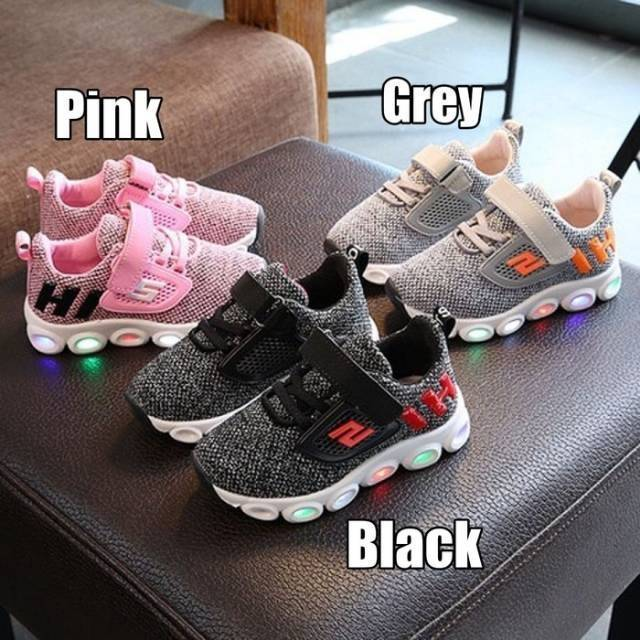21-30 Sepatu Led Anak Murah / Casual Sneaker Sport Scher