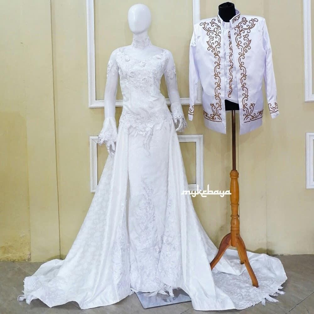 Gaun Pengantin Kebaya Dress Jawa Putih