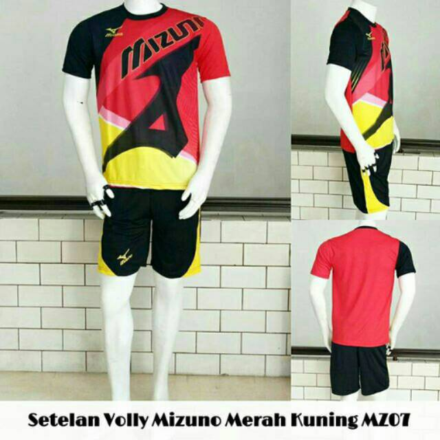 Setelan Volly Mizuno Merah Kuning MZ07 Baku Kaos Olahraga Jersey Bola Murah | Shopee Indonesia