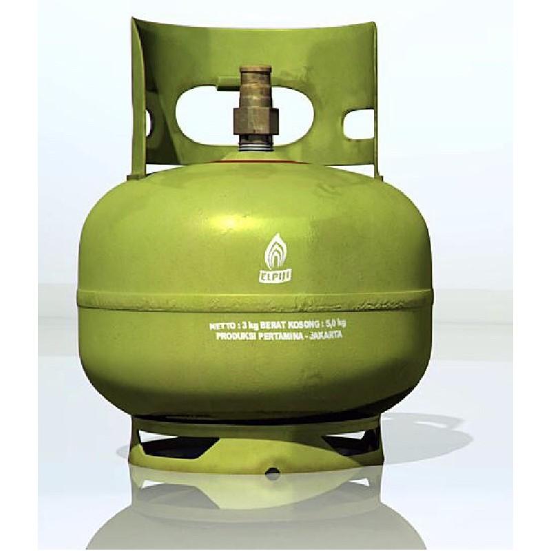 (Hanya Bandung) Tabung gas lpg 3 kg melon warna hijau kosong termurah