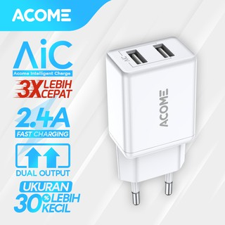 ACOME Charger Adaptor Original 2.4 A AiC Fast Charging 2 Port Micro USB Samsung OPPO iPhone AC03