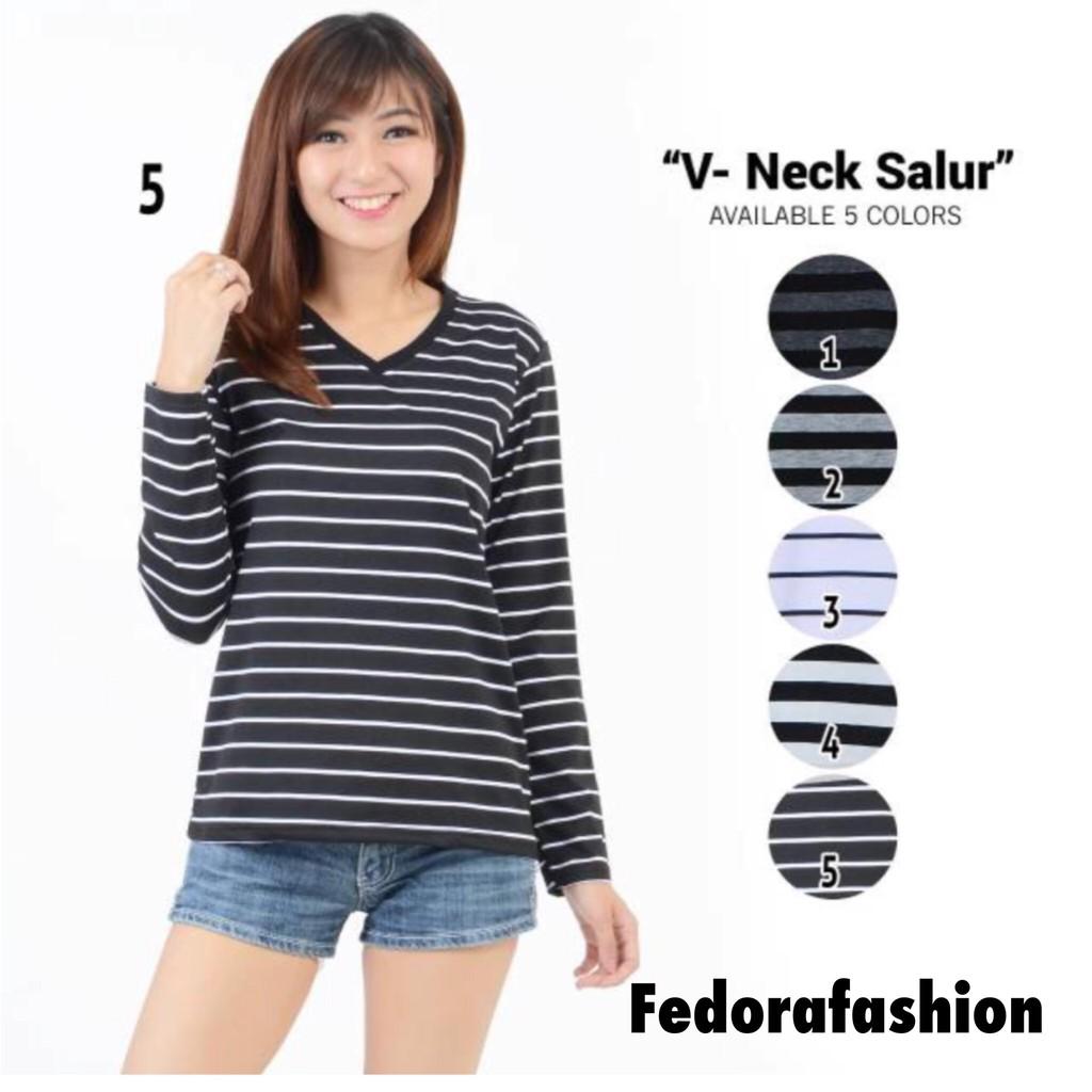 Fedorafashion Vneck Panjang V Neck Blouse Kaos Wanita Murah Purple Sella Top No140 Shopee Indonesia