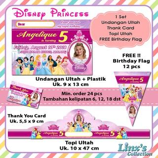 1 Set Undangan Ulang Tahun Anak Kartu Souvenirtopi Disney Princess Sofia Frozen Moana
