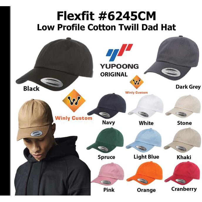 Topi Flexfit Low Profile Cotton Twill Dad Hat 6245CM Yupoong ORIGINAL    Multi COlour    74df6af5b7