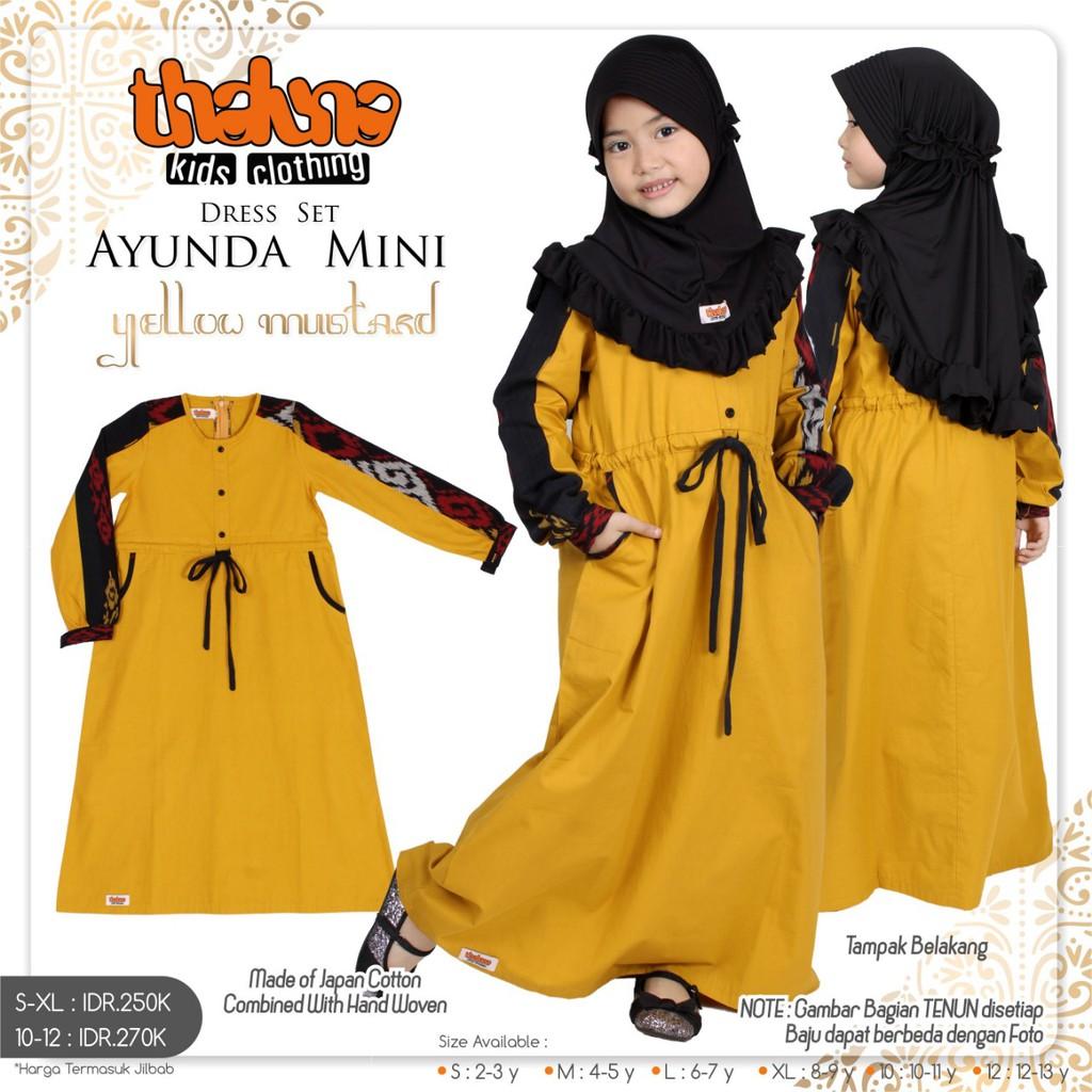Gamis Anak Tenun Kombinasi Tali Serut Dress Ayunda Mini Yellow Mustard Shopee Indonesia