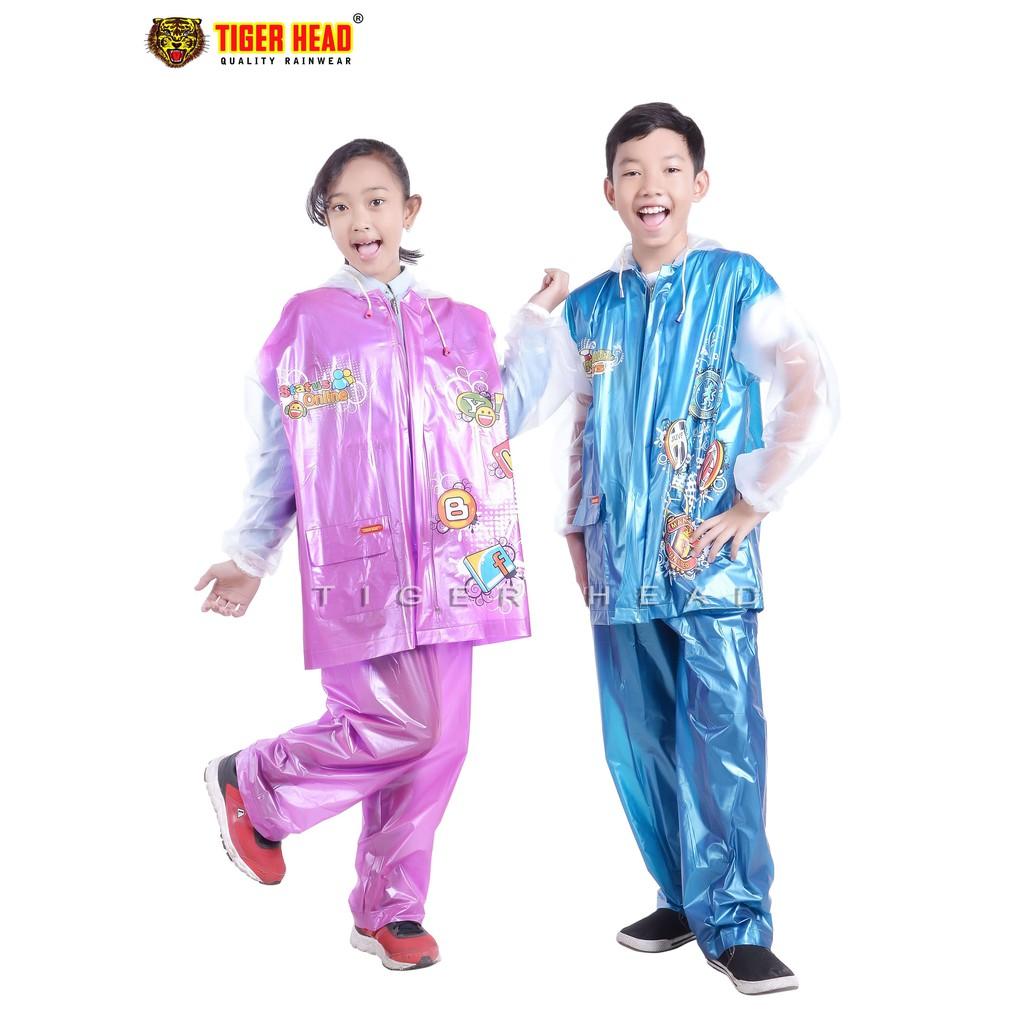 Biru Pria Tiger Head Jas Jaket Hujan Setelan Batik Celana Baju Rain City 69132 Sekar Stelan Motor Karet Remaja Olimpik 68338 Merah Muda
