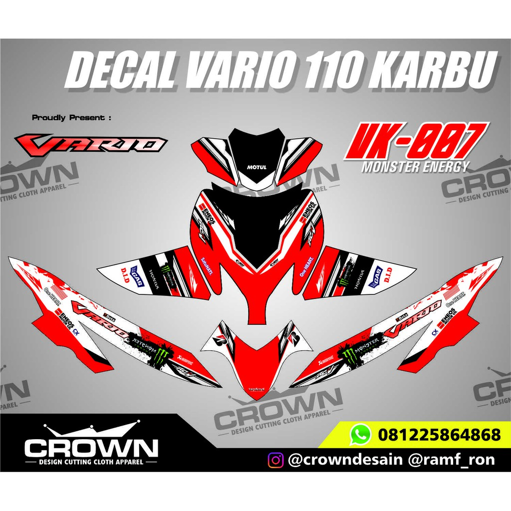 Decal vario 110 karbu monster energy shopee indonesia