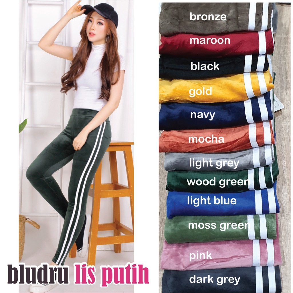 Legging Bludru Jumbo Import Legging Strip Velvet Suede Fashion Leging Bludru Murah Shopee Indonesia