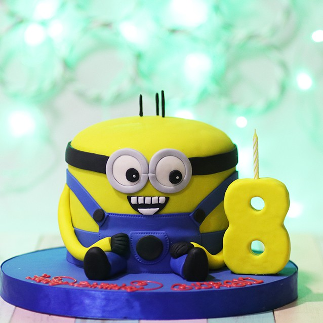 Kue Ulang Tahun Minion Diameter 20 Cm Fondant