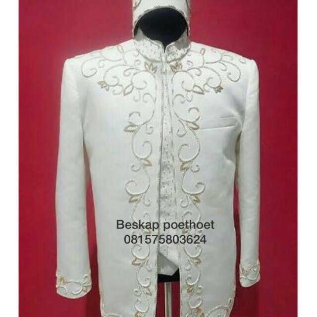 Basofi Putih Tulang Gold Jas Pengantin Sunda Muslim Modern Baju Pernikahan Pria Dewasa