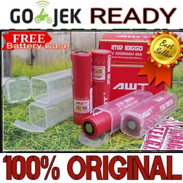 Baterai vape AWT 3000 mAH 40A AUTHENTIC 18650 battery BATERE VAPE 3000mah