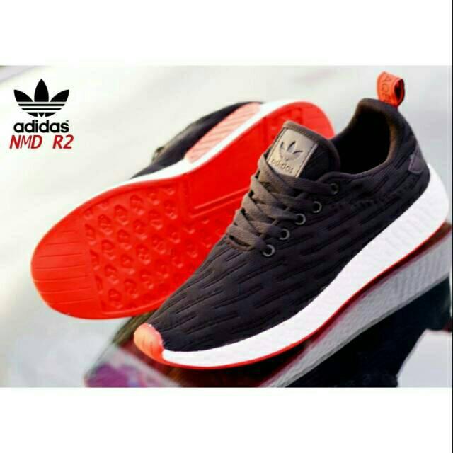 new concept f4126 b8fbc Sepatu Sneakers Desain Adidas NMD R1 Pria   Wanita Ukuran 36-45 Warna Hitam    Merah   Shopee Indonesia