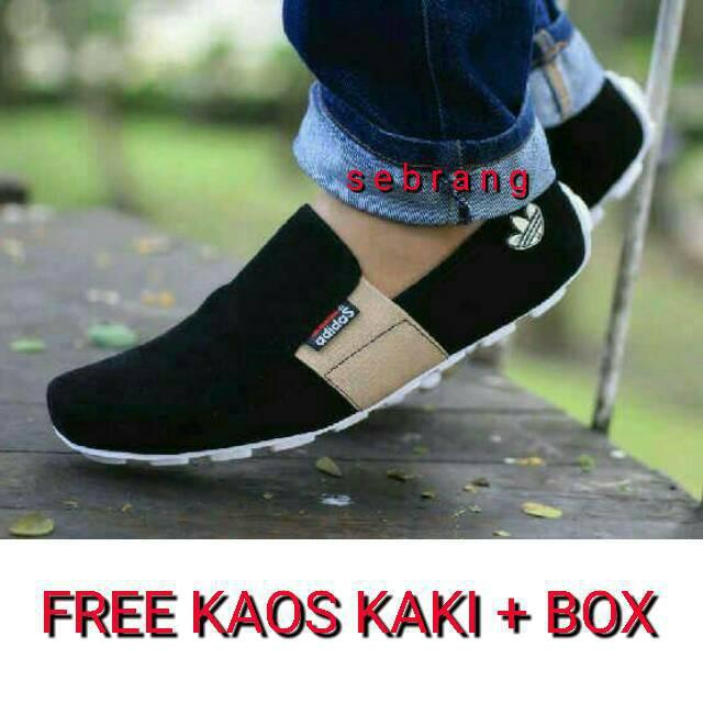 Dnr 02 Sepatu Adidas Slip On Pria Kasual Slop Free Kaos Kaki