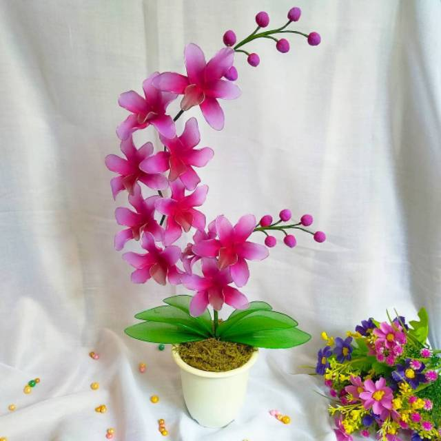 Bunga Anggrek Artifisial Bahan Stoking Bonus Bros Cantik Shopee Indonesia