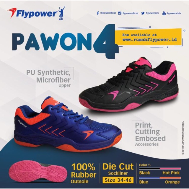 Sepatu Bulutangkis Flypower Pawon 4  cf244a6e0b