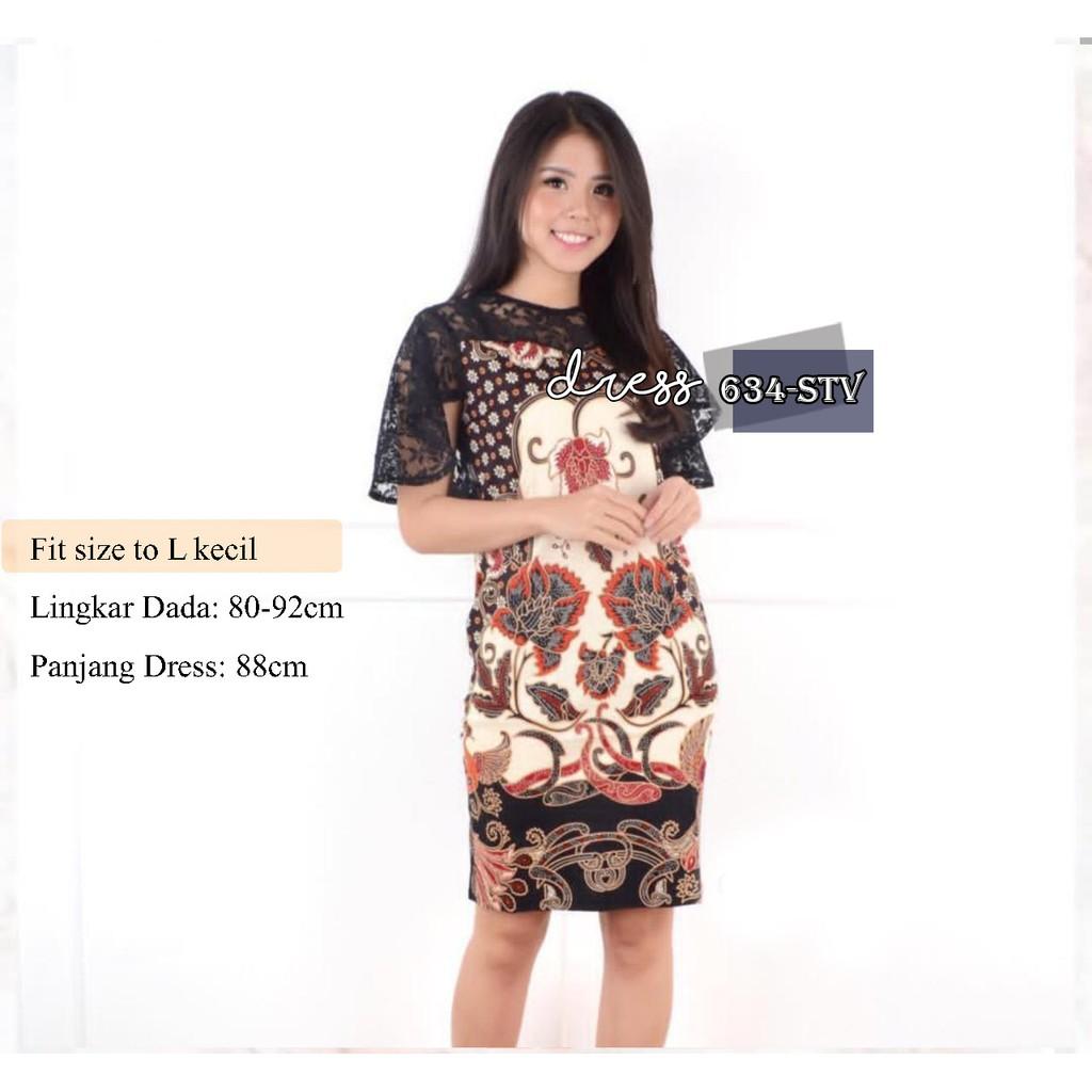 Dress Batik Modern Bahan Katun Stretch Kombinasi Brokat 634 Stv