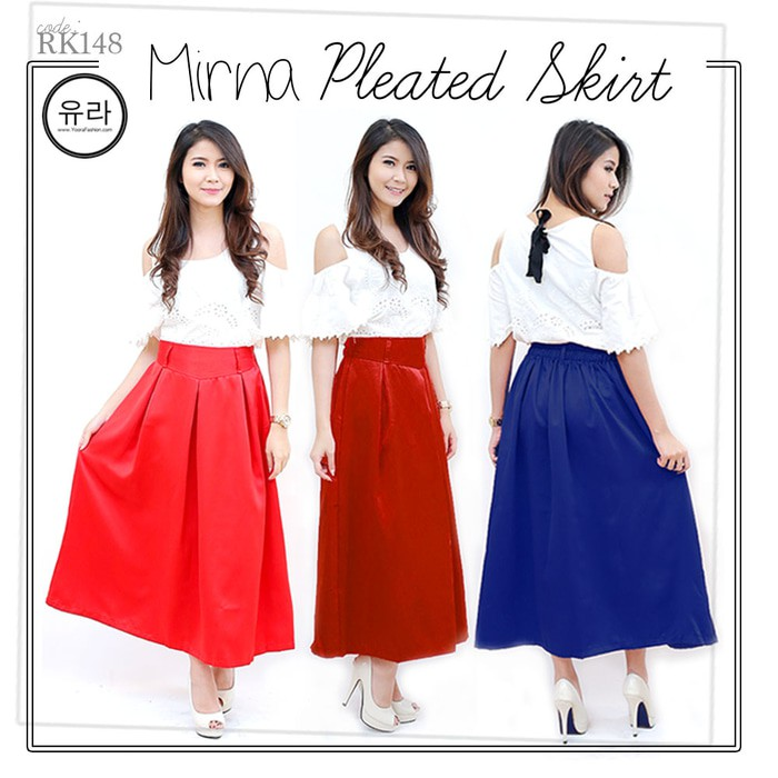 Mirna Pleated A-Line Maxi Skirt Rok Panjang Wanita RK148   Shopee Indonesia