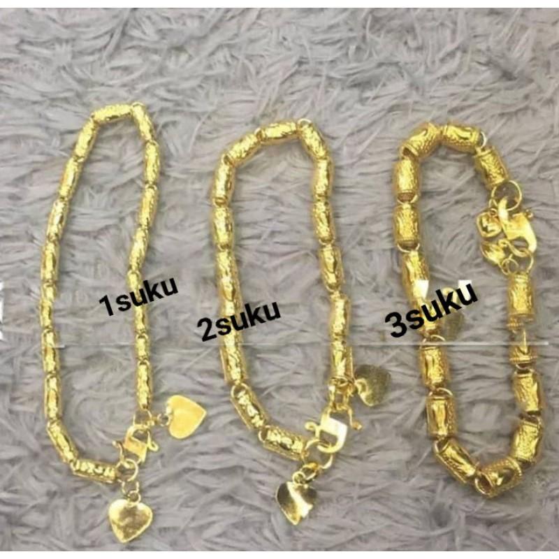 Gelang Lapis Emas 24karat motif bambu 1sku, 2suku dan 3 suku