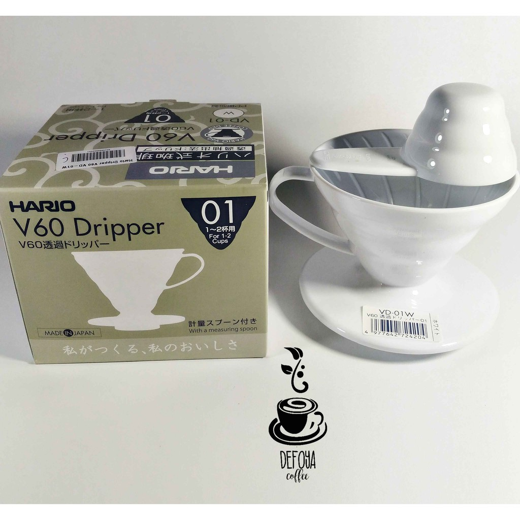 Alat Kopi Manual Brew Hario v60 Coffee Dripper 01 White | Shopee Indonesia