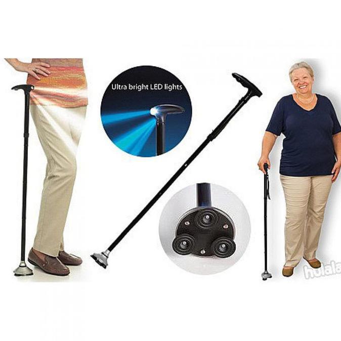 HARGA TERMURAH!!!  Tongkat Alat Bantu Jalan Lansia Bisa Dilipat dan Dilengkapi Flashlight  Alat
