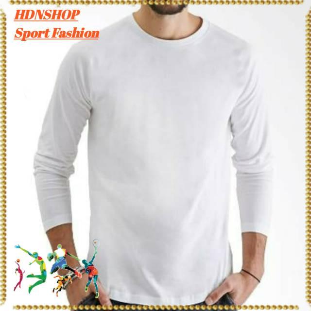 Kaos Polos Lengan Panjang Catton Combad 30s Warna Putih Shopee Indonesia