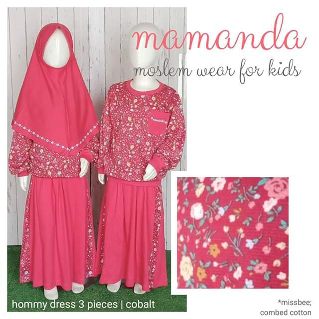 Setelan Muslim Anak Mamanda 3pcs Cobalt (Hommy Dress)