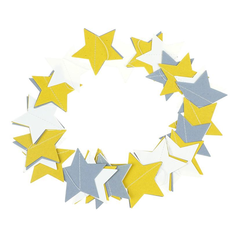 [Bayar di Tempat]Banner Kertas Bentuk Bintang 4M untuk Dekorasi Pesta Pernikahan